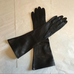 Vintage Italy Black Leather Silk Lined Long Gloves